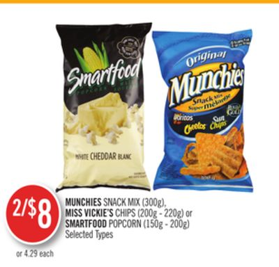 Munchies Snack Mix (300g) - Miss Vickie's Chips (200g - 220g) or Smartfood Popcorn (150g - 200g)