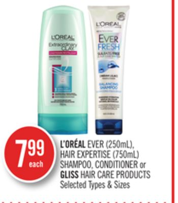 L'oréal Ever (250ml) - Hair Expertise (750ml) Shampoo - Conditioner or Gliss Hair Care Products
