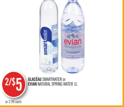 Glacéau Smartwater or Evian Natural Spring Water 1l