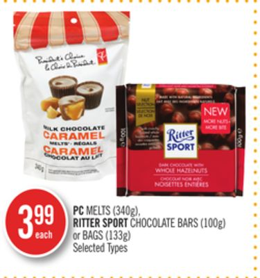 PC Melts (340g) - Ritter Sport Chocolate Bars (100g) or Bags (133g)