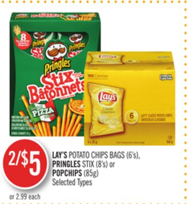 Lay's Potato Chips Bags (6's) - Pringles Stix (8's) or Popchips (85g)