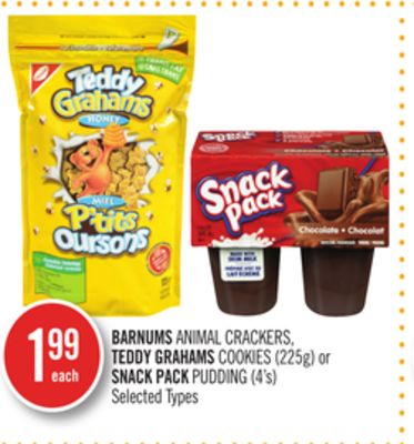Barnums Animal Crackers - Teddy Grahams Cookies (225g) or Snack Pack Pudding (4's)