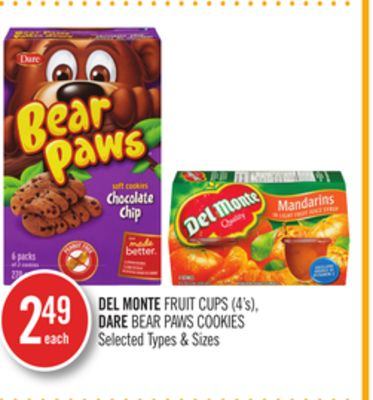 Del Monte Fruit Cups (4's) - Dare Bear Paws Cookies