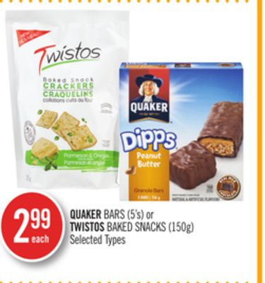 Quaker Bars (5's) or Twistos Baked Snacks (150g)