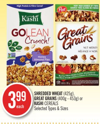 Shredded Wheat (425g) - Great Grains (400g - 453g) or Kashi Cereals