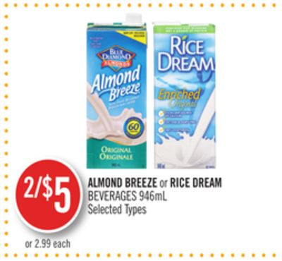 Almond Breeze or Rice Dream Beverages