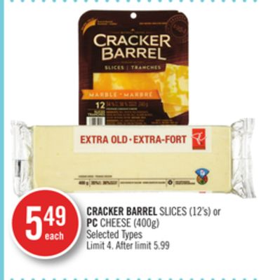 Cracker Barrel Slices (12's) or PC Cheese (400g)