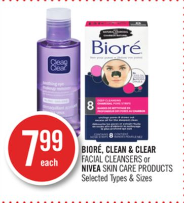 Bioré - Clean & Clear Facial Cleansers or Nivea Skin Care Products