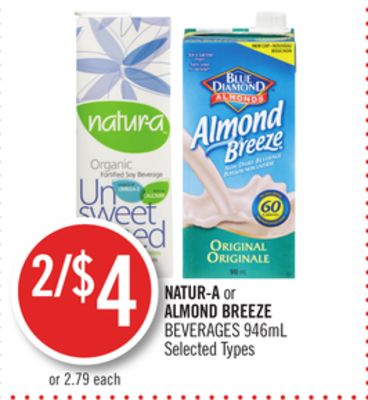 Natur-a or Almond Breeze Beverages