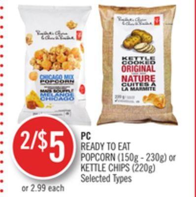 PC Ready To Eat Popcorn (150g - 230g) or Kettle Chips (220g)