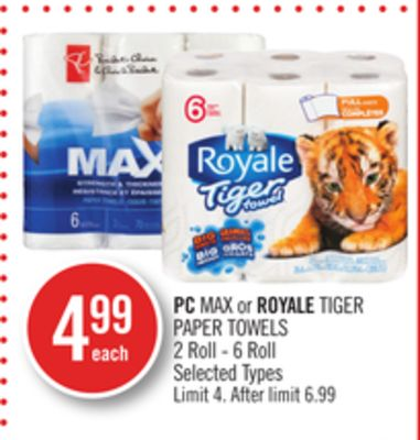 PC Max or Royale Tiger Paper Towels