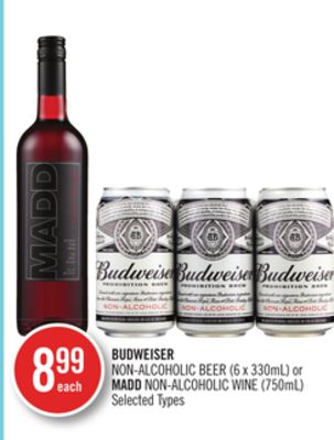 Budweiser Non-alcoholic Beer (6 X 330ml) or Madd Non-alcoholic Wine (750ml)