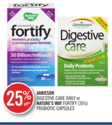Jamieson Digestive Care Daily or Nature's Way Fortify (30's) Probiotic Capsules
