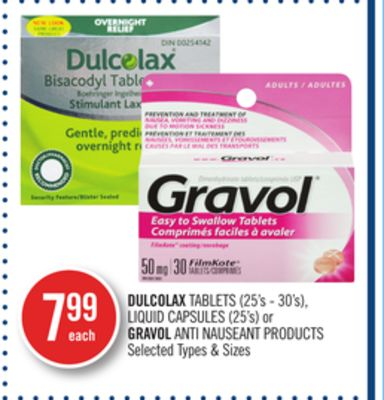 Dulcolax Tablets (25's - 30's) - Liquid Capsules (25's) or Gravol Anti Nauseant Products