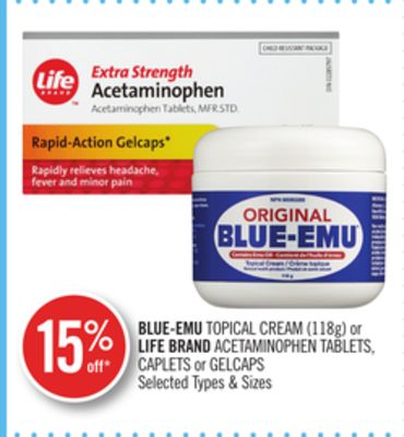Blue-emu Topical Cream (118g) or Life Brand Acetaminophen Tablets - Caplets or Gelcaps