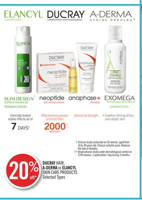 Ducray Hair - A-derma or Elancyl Skin Care Products
