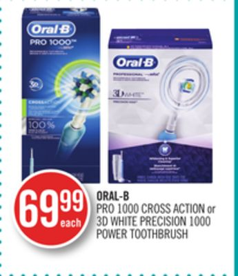 Oral-b Pro 1000 Cross Action or 3D White Precision 1000 Power Toothbrush