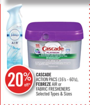 Cascade Action Pacs (16's - 60's) - Febreze Air or Fabric Fresheners