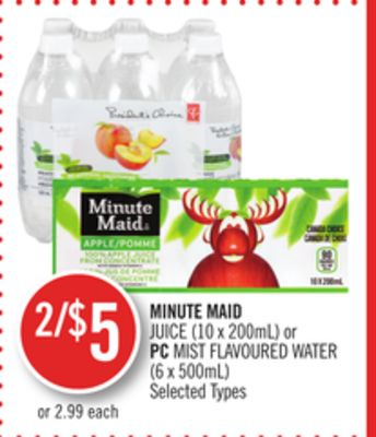 Minute Maid Juice (10 X 200ml) or PC Mist Flavoured Water (6 X 500ml)