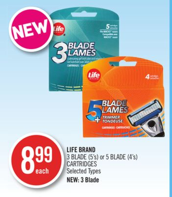 Life Brand 3 Blade (5's) or 5 Blade (4's) Cartridges