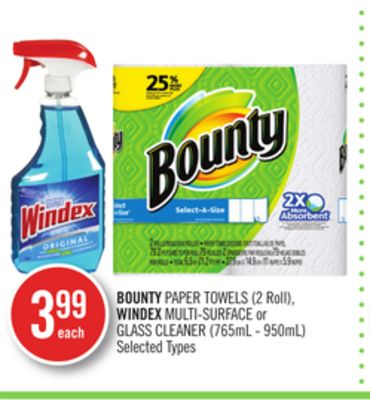 Bounty Paper Towels (2 Roll) - Windex Multi-surface or Glass Cleaner (765ml - 950ml)