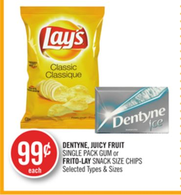 Dentyne - Juicy Fruit Single Pack GUM or Frito-lay Snack Size Chips