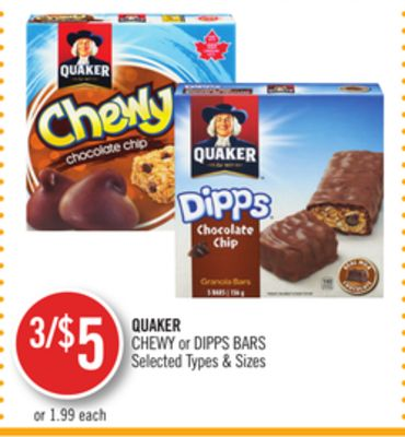 Quaker Chewy or Dipps Bars