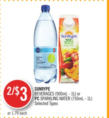 Sunrype Beverages (900ml - 1l) or PC Sparkling Water (750ml - 1l)