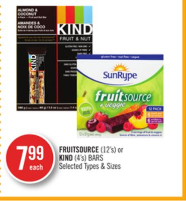 Fruitsource (12's) or Kind (4's) Bars