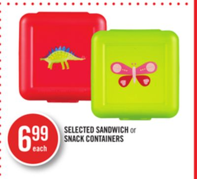 Selected Sandwich or Snack Containers