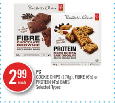 PC Cookie Chips (170g) - Fibre (6's) or Protein (4's) Bars