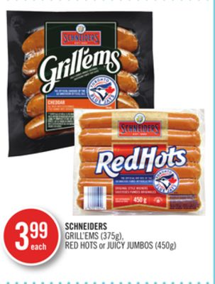 Schneiders Grill'ems (375g) - Red Hots or Juicy Jumbos (450g)