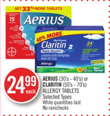 Aerius (30's - 40's) or Claritin (50's - 70's) Allergy Tablets