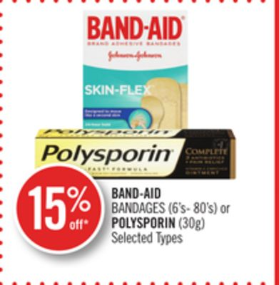 Band-aid Bandages (6's- 80's) or Polysporin (30g)