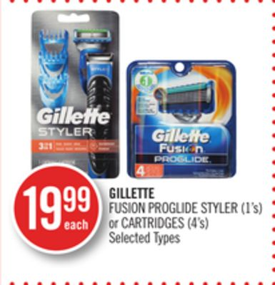 Gillette Fusion Proglide Styler (1's) or Cartridges (4's)