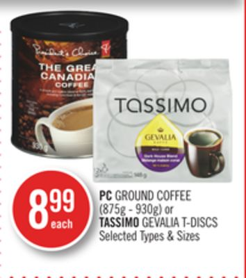 PC Ground Coffee (875g - 930g) or Tassimo Gevalia T-discs