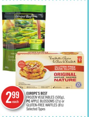 Europe's Best Frozen Vegetables (500g) - PC Apple Blossoms (2's) or Gluten-free Waffles (8's)
