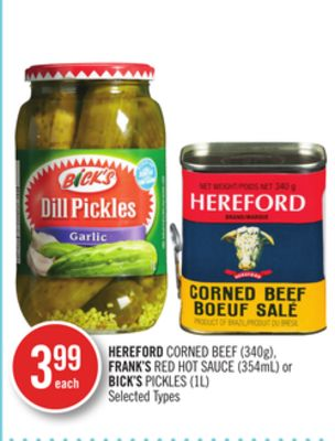 Hereford Corned Beef (340g) - Frank's Red Hot Sauce (354ml) or Bick's Pickles (1l)
