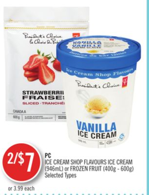 PC Ice Cream Shop Flavours Ice Cream (946ml) or Frozen Fruit (400g - 600g)