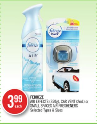 Febreze Air Effects (250g) - Car Vent (2ml) or Small Spaces Air Fresheners