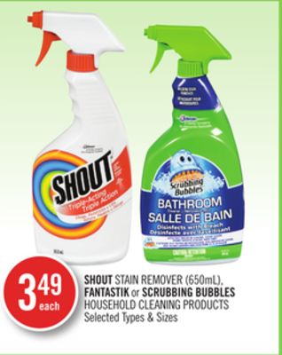 Shout Stain Remover (650ml) - Fantastik or Scrubbing Bubbles Household Cleaning Products