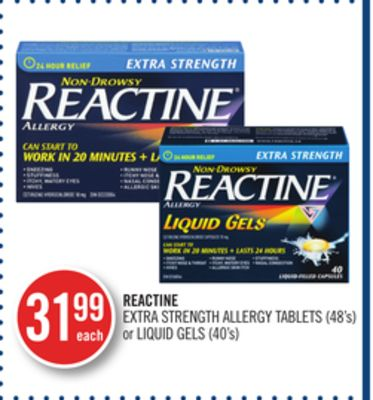 Reactine Extra Strength Allergy Tablets (48's) or Liquid Gels (40's)