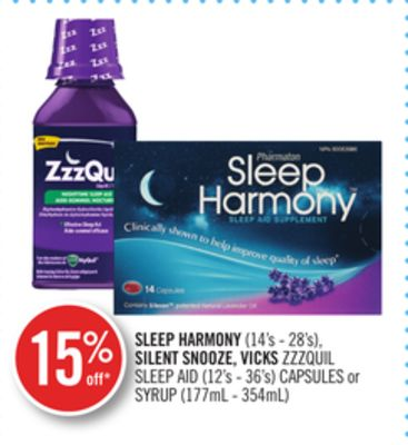Sleep Harmony (14's - 28's) - Silent Snooze - Vicks Zzzquil Sleep Aid (12's - 36's) Capsules or Syrup (177ml - 354ml)