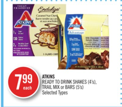 Atkins Ready To Drink Shakes (4's) - Trail Mix or Bars (5's)