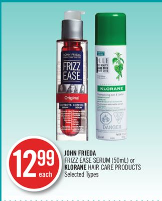 John Frieda Frizz Ease Serum (50ml) or Klorane Hair Care Products