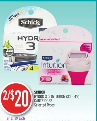 Schick Hydro 3 or Intuition (3's - 4's) Cartridges