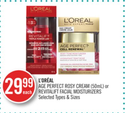 L'oréal Age Perfect Rosy Cream (50ml) or Revitalift Facial Moisturizers