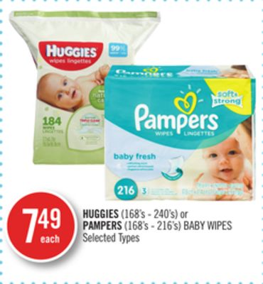 Huggies(168's - 240's) or Pampers (168's - 216's) Baby Wipes