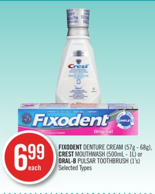 Fixodent Denture Cream (57g - 68g) - Crest Mouthwash (500ml - 1l) or Oral-b Pulsar Toothbrush (1's)