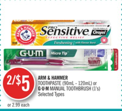 Arm & Hammer Toothpaste (90ml - 120ml) or Gu.m Manual Toothbrush (1's)